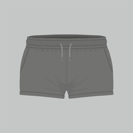 Front views of women's black sport shorts on gray background