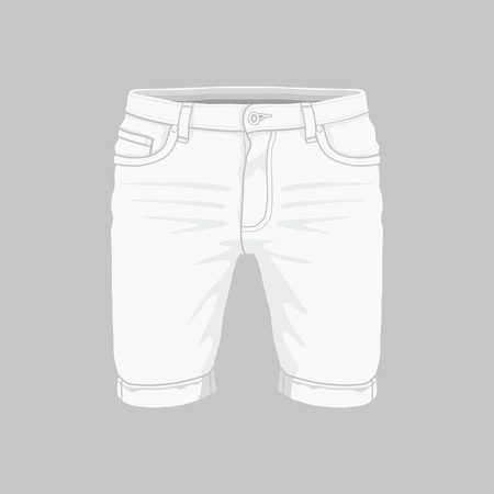 Front views of Men's white denim shorts on gray background