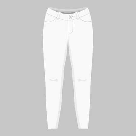 Front views of womens white jeans on gray background
