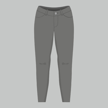 Front views of womens black jeans on gray background