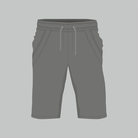 Front views of Men's black sport shorts on gray background Illustration