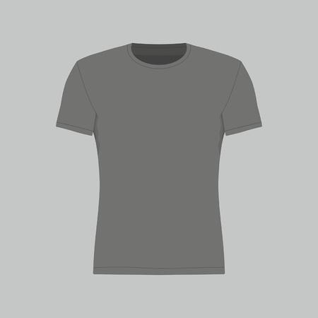 Vooraanzicht van het zwarte t-shirt voor mannen op een grijze achtergrond
