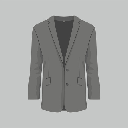 Front views of Men's black business suit on gray background Vectores