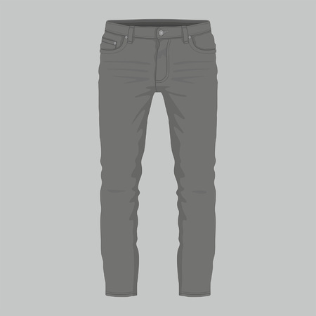 Front views of Men's black jeans on gray background