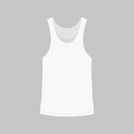 Front views of men's white t-shirt on gray background