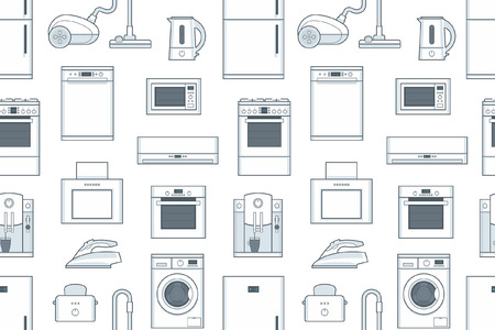 seamless pattern with Household Appliances. flat style. isolated on white background