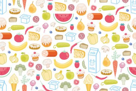 Modèle sans couture avec des aliments différents. isolé sur fond blanc