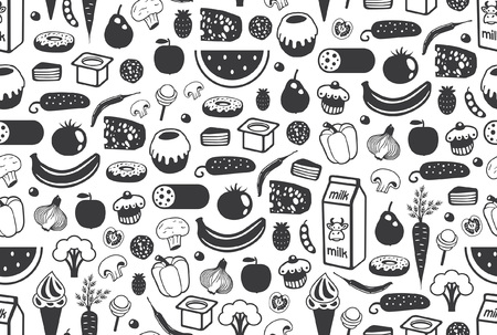 Seamless pattern with different food in Black. isolated on white background