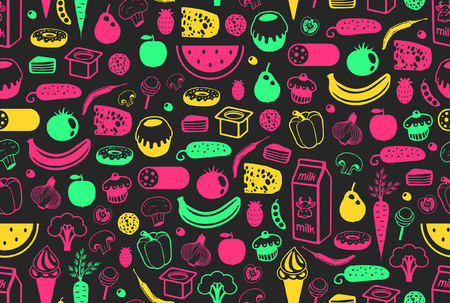 Seamless pattern with different food. isolated on black background Vecteurs