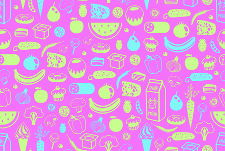 Seamless pattern with different food. isolated on purple background