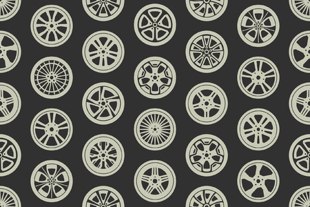 Seamless pattern with car wheels. isolated on black background