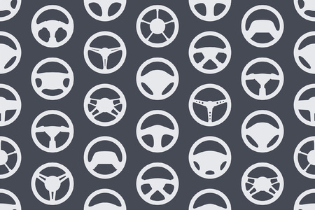 Seamless pattern with car steering wheels. isolated on black background