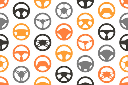 Seamless pattern with car steering wheels. isolated on white background Vector Illustration