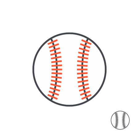 Baseball ball with red stitches. line style. isolated on white background