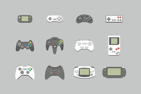 Video games joystick icons set. flat style. isolated on white background