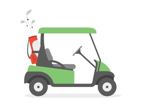 Voiturette de golf. style plat. isolé sur fond blanc