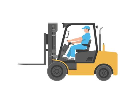 Homme conduisant un chariot élévateur. style plat. isolé sur fond blanc