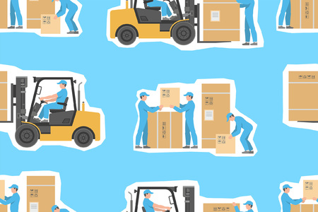 seamless pattern with Forklift truck and Warehouses workers. flat style. isolated on blue background