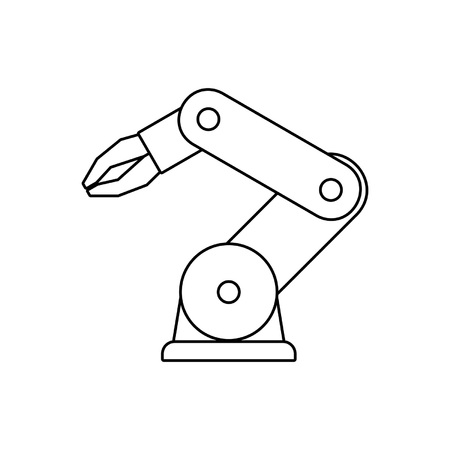 Robotic arm. line style. isolated on white background