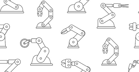 Seamless pattern with robotic arms. line style. isolated on white background