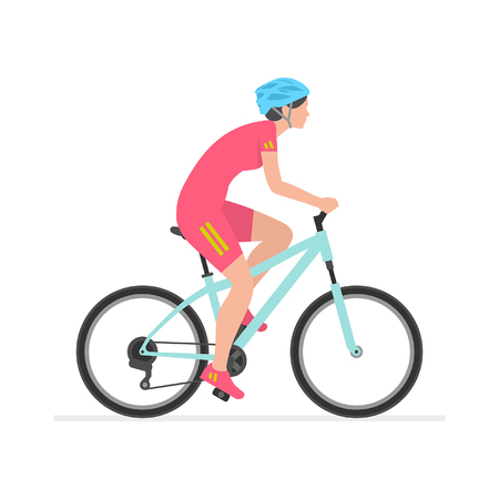 Woman riding bike  isolated on white background Çizim