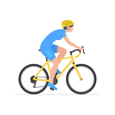 Woman riding bike  isolated on white background Stock Illustratie