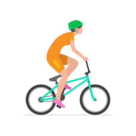 Woman riding bike  isolated on white background 矢量图像
