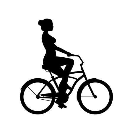 Mujer montando bicicleta aislado sobre fondo blanco.