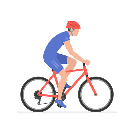 Man riding bike  isolated on white background