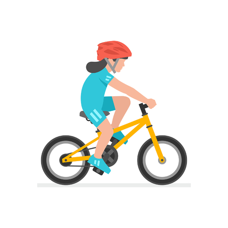Girl riding bike isolated on white background