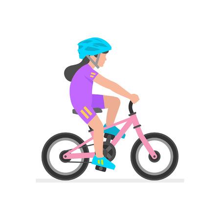 Girl riding bike isolated on white background Vetores
