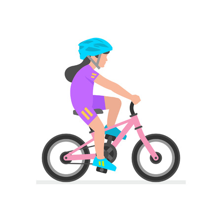 Mädchen, das Fahrrad auf weißem Hintergrund reitet Vektorgrafik