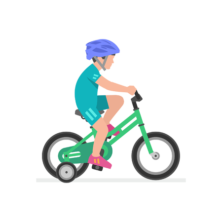 Niño montando bicicleta aislado sobre fondo blanco. Ilustración de vector
