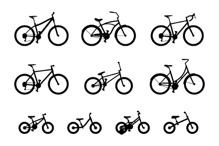 Set of different bicycles isolated on white background Ilustração