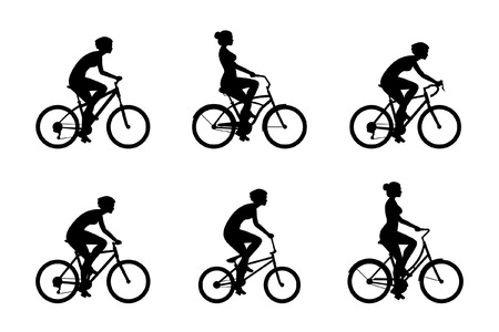 Set of Women riding bicycles isolated on white background