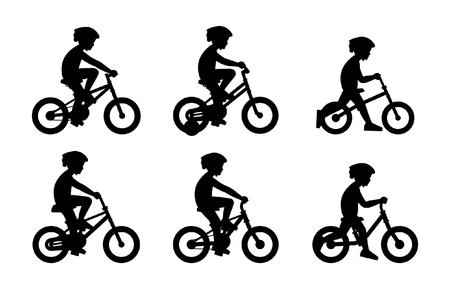 Set of Boys riding bike isolated on white background