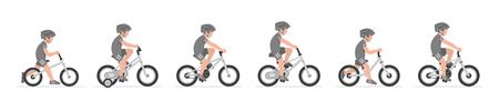 Conjunto de niños montando bicicleta aislado sobre fondo blanco.