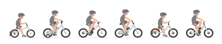 Set of Boys riding bike isolated on white background