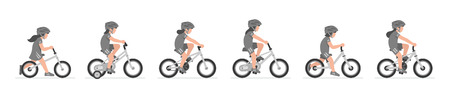 Set of Girls riding bike isolated on white background Ilustração