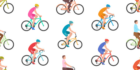 Seamless pattern with men riding bicycles isolated on white background