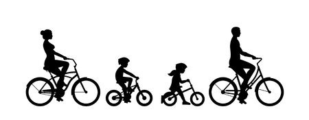 Happy family riding bicycle together. Group of people riding bikes. Isolated on white background Ilustração