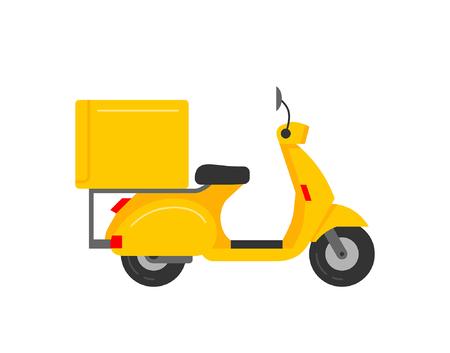 Corriere scooter isolato su sfondo bianco