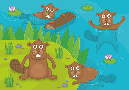 Beavers living by the pond. Funny cartoon and vector illustration Stock Illustratie