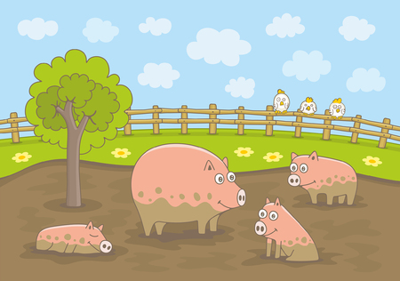 Pigs Playing in Dirty Puddle. Funny cartoon and vector illustration
