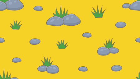 Seamless pattern with green grass and stones. isolated on yellow background
