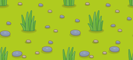 Seamless pattern with green grass and stones. isolated on green background