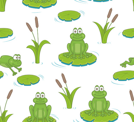 Seamless pattern with reeds and toads. isolated on white background