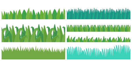 Green Grass Borders Set. Seamless pattern. isolated on white background Stock Illustratie