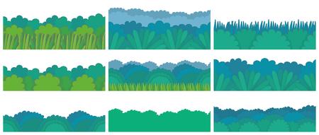 Green bush Border Set. Seamless pattern. isolated on white background Vettoriali