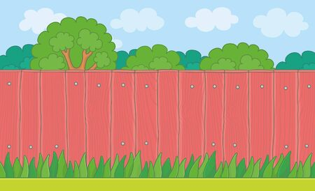 Wood Fence on the backyard. Grass Lawn and Red Wooden Fence Stock Illustratie